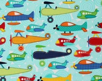 Soar Aeroplanes Michael Miller 100% Cotton Fabric CX5768 FQ 1/2 Half Full Metre