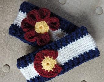Crochet Colorado Flag Headband, Colorado Hat, LuvBeanies, Colorado Flag Beanies, Colorado Ski Accessories, Headbands, Ear Warmers