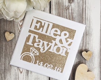 Papercut Personalised Engagement Wedding Glitter Card