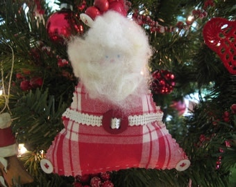 Handmade Santa Ornament Red and White Cotton Plaid, Button and Bead Accents, Sheep's Wool Beard  and Hair