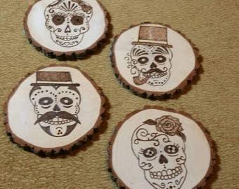 Woodburned Coasters Set of 4 Sugar Skulls