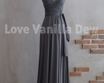 Bridesmaid Dress Infinity Dress Charcoal Grey Floor Length Maxi Wrap Convertible Dress Wedding Dress