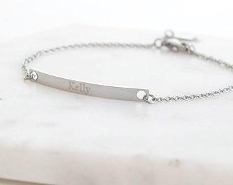 Custom Engraved Personalised Bar Bracelet Bangle Personalized