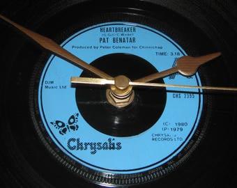 """Pat Benatar Heartbreaker 7"""" vinyl record clock"""