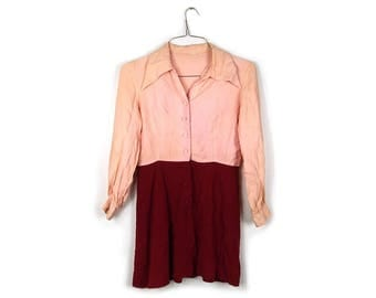 70's Pink and Maroon Button Down Mini Dress