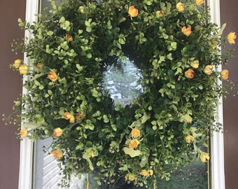 Eucalyptus Wreath, Summer Wreath, Front Door Wreath, Yellow Wreath, Spring Wreath