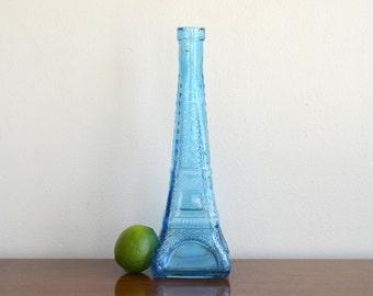Vintage Blue Glass Eiffel Tower Bottle Vase French Parisian Decor Coastal French Cottage