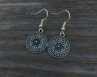 Mandala Charm Earrings, Mandala Earrings, Charm Earrings, Tribal Jewelry, Bridesmaid Earrings, Gifts for her, Boho Earrings