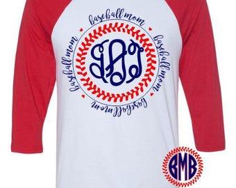Personalized Monogrammed Baseball Mom Raglan Shirt