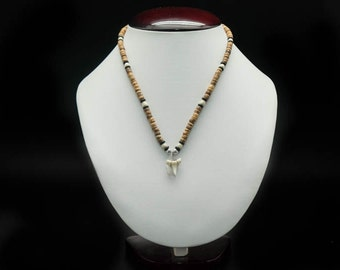 Shark Tooth Necklace: Wooden Beads (282-2)