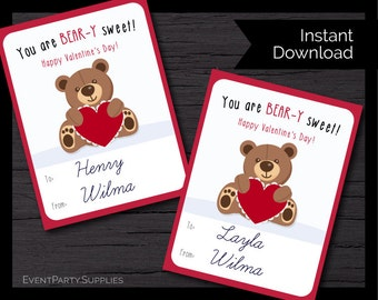 Bear with Heart Valentines Cards, Valentine's Card, Instant Download