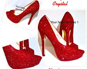 Ruby red shoes, wizard of oz shoes Strass shoes Red bridal shoes Red crystal shoes crystal shoes