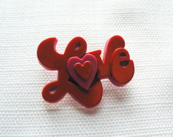 Vintage 1970s Love Pin - Button - Badge