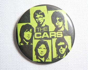 Vintage Early 1980s The Cars - Black and Neon Green Band Pin / Button / Badge