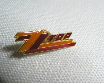 Vintage 80s ZZ Top Enamel Pin / Button / Badge