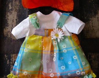 """Vintage 70's rainbow plaid jumper with flocked daisies, dress, and hat for 18"""" doll (fits American Girl)"""