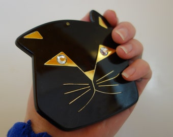 1980s cat compact mirror with rhinestone eyes unique cute kitschy crazy cat lady rhinestones goldtone vintage cats kitties makeup mirror