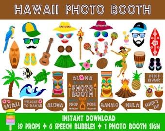 PRINTABLE Hawaii Photo Booth Props–Luau Photo Booth Sign-Hawaiian Party-Tiki Props-Hawaii Wedding-Hula Luau Tiki Photo Prop-Instant Download