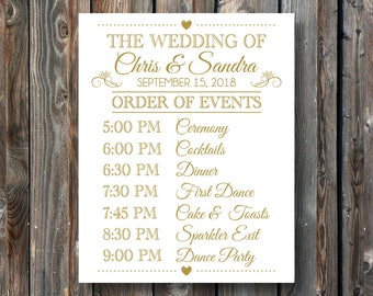 PRINTABLE Wedding Sign Order Of Events Day Schedule