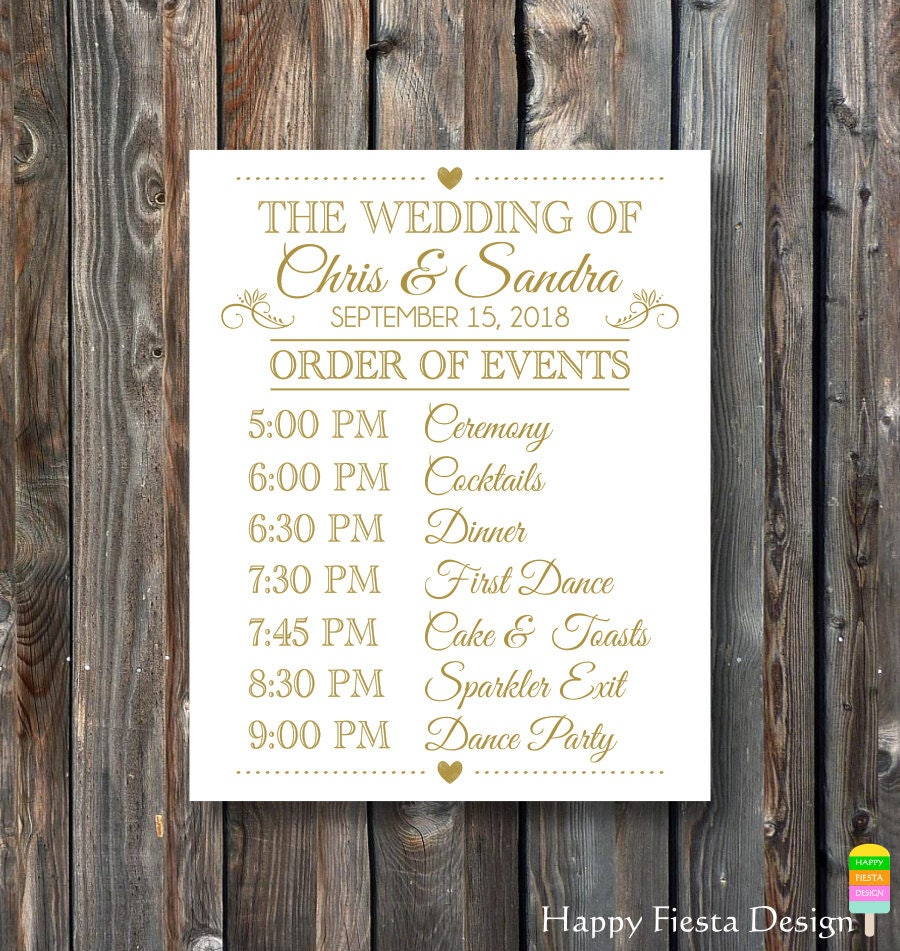 Wedding Order Of Events: PRINTABLE Wedding Sign-Order Of Events Sign-Wedding Day