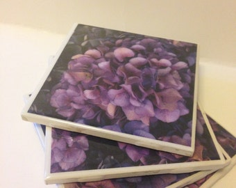 Purple Hydrangea Coaster Set- Coaster Set-Coasters-Tile Coasters- Ceramic Coasters-Tableware