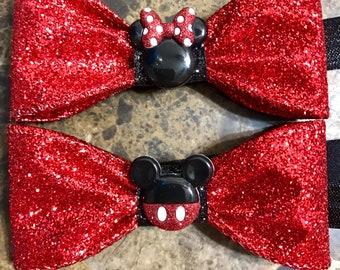 Mickey or Minnie Red Glitter Bow Elastic Head Band