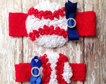 Red and Blue Baseball Garter Set | Baseball Wedding Garters | Bridal and Toss Garter | Customize Your Colors to Match Your Favorite Team