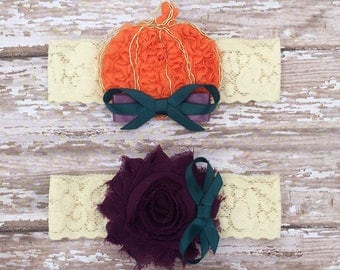 Pumpkin Garter Set | Fall Wedding Garters | Orange, Purple, Teal Bridal and Toss Garter, Prom Garter | Other Colors Available