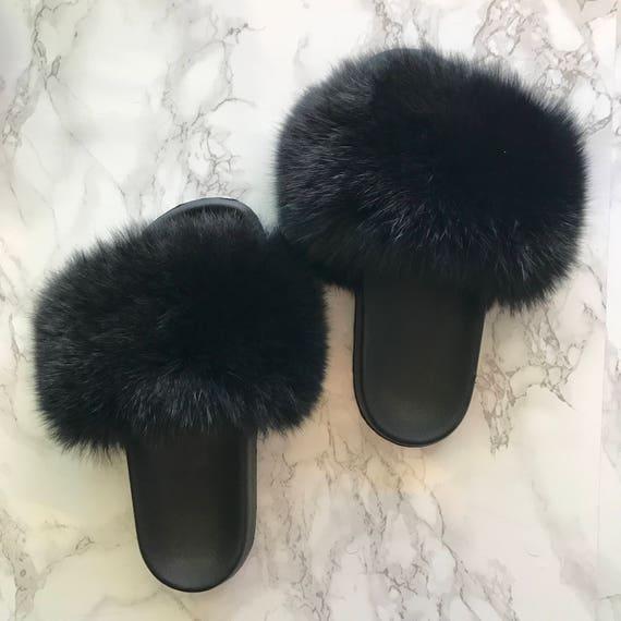 Sl Fluffy Slides Name Blk Orchid Color Black Real Fox Fur