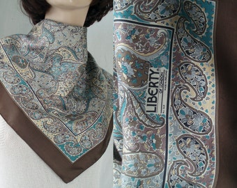 Brown c1970's Liberty of London Silk Scarf Paisley Orchids Mini Floral  . Mid Century Head Square . Foulard Soie .