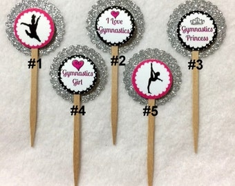 Set Of 12 Personalized Gymnastics Cupcake Toppers (Your Choice Of Any 12)