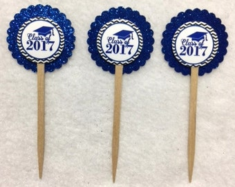 Set Of 12 Personalized Graduation Class Of 2017 Cupcake Toppers (Your Choice Of Any 12)