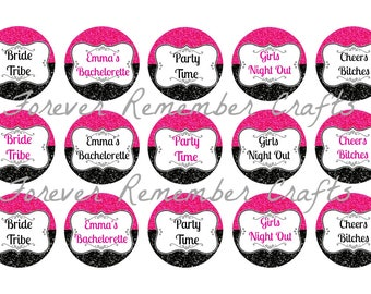 Personalized Bacherlorette Party Inspired 1 Inch Bottle Cap Image Sheets *Digital Image* 4x6 Sheet With 15 Images