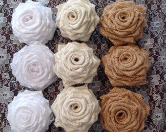 Hessian and Lace Roses Handmade x 10