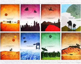 Star Wars Episode I-VII Minimalist Art Poster Print Set - Rogue One - Wall Art - Star Wars Poster - Set of all 8 prints