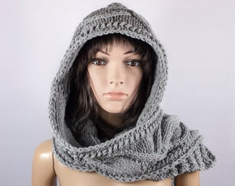 Hooded Scarf, Cotton scarf, Long Scarf, Chunky hooded scarf, Hooded long scarf, Scoodie Scarf by LoveKnittings