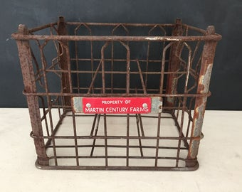 Metal Crate - Vintage Wire Martin Century Farms Milk Crate - Enamel Plate Crate - Farmhouse - Storage - Industrial Decor - Wire Crate