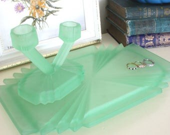 Stunning Vintage  20's 30's   Frosted Green Glass Dressing Table Set Vanity set