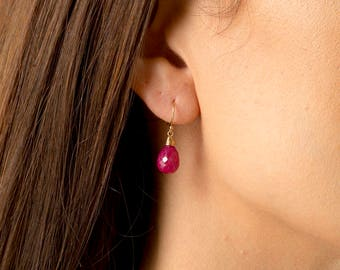 Ruby Earrings/Genuine Ruby Eartings/Ruby stone earrings/Ruby Briolette Earrings/Ruby Drop Earrings/July Birthstone/Ruby Teardrop earrings