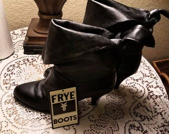 Vintage 80s Frye black leather ankle boots valley girl cowgirl chic