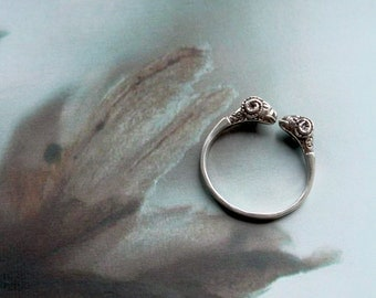 Roman Aries ring / silver ring / Legionnaire ring adjustable ring rams head aries sheep roman ancient Rome antique male