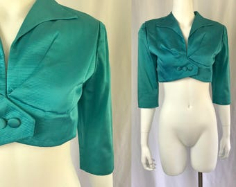 Xs ** 1940s TURQUOISE textured satin cropped blazer ** vintage forties Claudia Young three quarter sleeve jacket