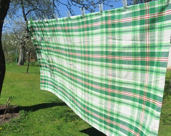 Vintage Large Checked Table Cloth, 188 x 100 cm / 74 x 39.3 inch, Green Checkered Gingham Style Table Cloth #3-27