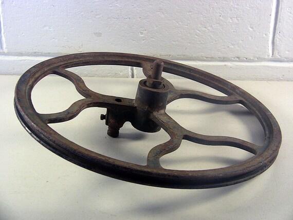 Antique Cast Iron Flywheels : Antique flywheel vintage cast iron wheel industrial