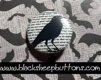 Edgar Allan Poe's Raven - Pinback Button - Magnet - Keychain - Gothic - Halloween - Romantic - Dark Poetry - Nevermore