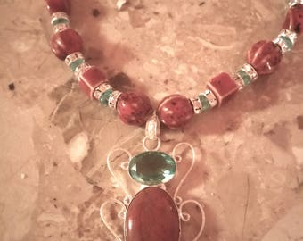 Jasper and Blue Topaz and Silver Pendent Necklace