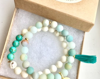 Yoga bracelets - mala beads bracelets - bracelets - for her - om bracelets - healing stones - yoga - meditation - calming