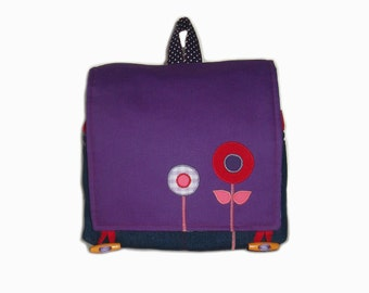 Kids backpack flower nursery bag made of canvas and jeans with flower application, can be personalised and handmade