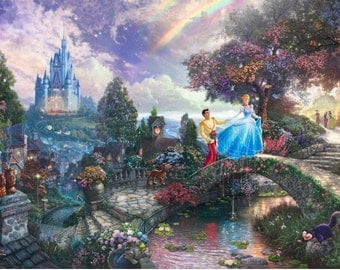 Cinderella Wishes Upon A Dream Thomas Kinkade Art Print Mounted