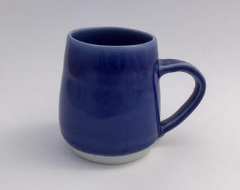 Handmade porcelain coffee cup tea cup Blue and White modern wheel thrown Haight Pottery Company